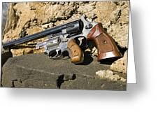 Two Hand Guns Greeting Card