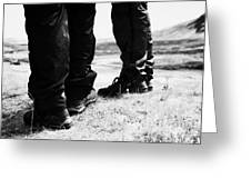 two hikers hillwalkers in the highlands of Scotland UK Greeting Card