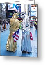 Two In Time Square Greeting Card by Ed Rooney