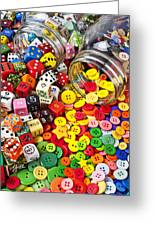 Two Jars Dice And Buttons Greeting Card