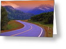 Two Lane Country Road In Mountains Greeting Card