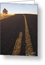 Two Lane Road Between Fields Greeting Card