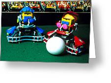 Two Lego Footballers With A Ball At Robocup-98 Greeting Card by Volker Steger