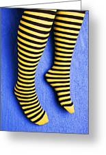 Two Legs Against Blue Wall Greeting Card by Garry Gay