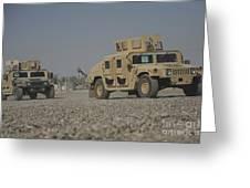 Two M1114 Humvee Vehicles At Camp Taji Greeting Card