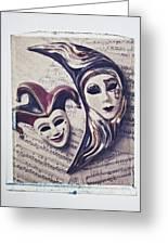 Two Masks On Sheet Music Greeting Card