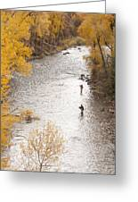 Two Men Flyfishing On The Aspen-lined Greeting Card