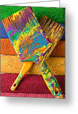 Two Paintbrushes On Paint Rollers Greeting Card
