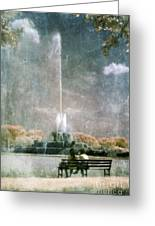 Two People By Buckingham Fountain Greeting Card
