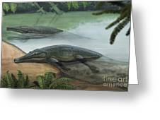 Two Prehistoric Platyoposaurus Greeting Card