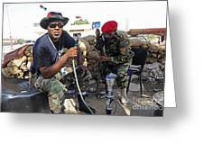 Two Rebel Fighters Man A Checkpoint Greeting Card