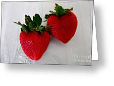 Two Strawberries On A Glass Plate Greeting Card
