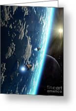 Two Survey Craft Orbit A Terrestrial Greeting Card by Brian Christensen