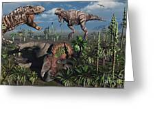 Two T. Rex Dinosaurs Confront Each Greeting Card by Mark Stevenson