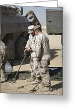 Two U.s. Marines Use A Mine Detector Greeting Card