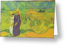 Two Women Crossing The Fields Greeting Card