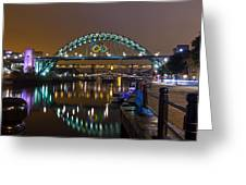 Tyne Bridge At Night Greeting Card