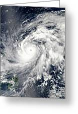 Typhoon Sanba Over The Pacific Ocean Greeting Card