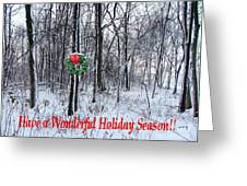 Tyra's Woods At Christmas Greeting Card by Julie Dant