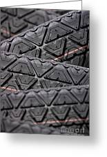 Tyres Stacked With Focus Depth Greeting Card