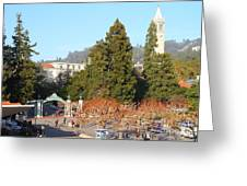 Uc Berkeley . Sproul Plaza . Sather Gate And Sather Tower Campanile . 7d10015 Greeting Card
