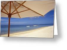 Umbrella And Tropical Beach, Close Up Greeting Card