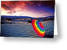 Umbrella On Desert Sands Greeting Card by Garry Gay
