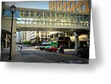 Under The Skywalk - Street Lamp Greeting Card