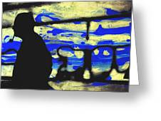Underground - People Silhouette Serigraphic Arts Greeting Card