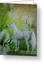 Unicorn And Lilies Greeting Card