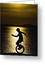 Unicycling Silhouette Greeting Card
