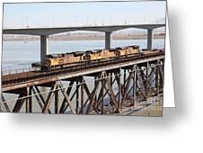 Union Pacific Locomotive Trains Riding Atop The Old Benicia-martinez Train Bridge . 5d18851 Greeting Card