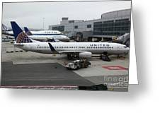 United Airlines At Foggy Sfo International Airport . 5d16937 Greeting Card