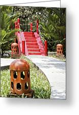 Up Garden Path Over Red Bridge Greeting Card