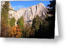 Upper Yosemite Falls In Autumn Greeting Card