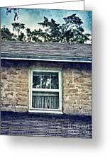 Upstairs Window In Stone House Greeting Card