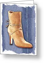 Urban Cowgirl Suede Boots Greeting Card