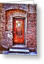 Urban Door In Old Brick Building Greeting Card