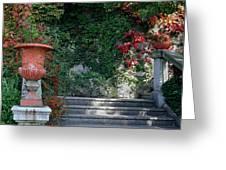 Urn And Steps At A Villa On Lake Como Greeting Card