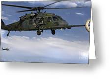 U.s. Air Force Hh-60 Pave Hawks Conduct Greeting Card