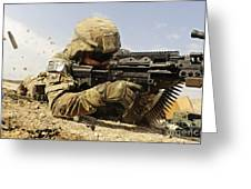 U.s. Air Force Soldier Fires The Mk48 Greeting Card