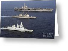 U.s. And French Navy Ships Transit Greeting Card