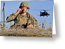 U.s. Army Captain Directs An Ah-64 Greeting Card