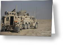 U.s. Army Cougar Mrap Vehicles Greeting Card