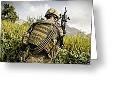 U.s. Army Mk48 Machine Gunner Patrols Greeting Card
