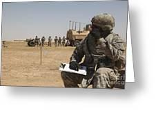 U.s. Army Radio Operator Communicates Greeting Card
