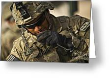 U.s. Army Soldier Communicates Greeting Card