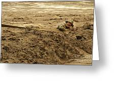 U.s. Army Soldier Fights Racing Water Greeting Card