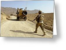 U.s. Army Soldier Moves To His Mrap Greeting Card