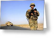 U.s. Army Soldier On Patrol Greeting Card